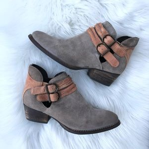 Rebels Boho Suede Cutout Ankle Booties Taupe